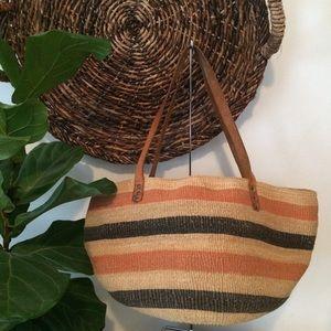 Vintage Boho Sisal & Leather Market Basket Bag